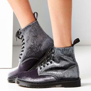 New Dr. Martens Grey Brocade Velvet Boots